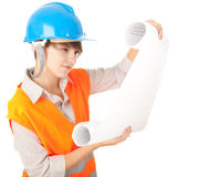 Female architect holding blueprint Royalty Free Stock Image