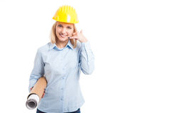 Female architect holding blueprints showing call me Stock Photos