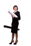 Female architect holding tube with blueprints. Royalty Free Stock Photos
