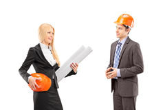 Female architect and investor having a conversation Royalty Free Stock Photo