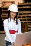 Female architect with a laptop Royalty Free Stock Photos