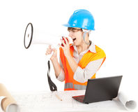 Female architect with laptop and megaphone Stock Images