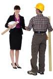 Female architect and male carpenter Stock Image
