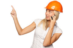 Female architect with a mobile phone Stock Photos
