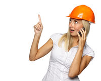 Female architect with a mobile phone Stock Images