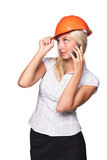 Female architect with a mobile phone Royalty Free Stock Photography