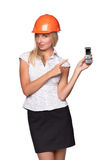 Female architect with a mobile phone Royalty Free Stock Images