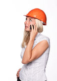 Female architect with a mobile phone Royalty Free Stock Photo