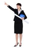 Female architect pointing royalty free stock photo