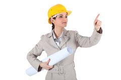 Female architect pointing Stock Photo