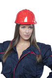 Female architect with safety helmet  isolated Stock Photo