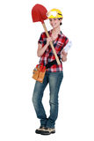 Female architect with shovel Royalty Free Stock Image