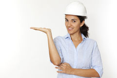 Female architect showing Stock Images