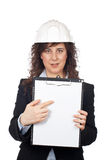 Female architect showing a not Stock Photo
