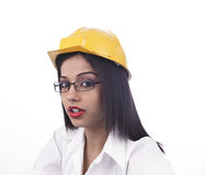Female architect at the site Royalty Free Stock Image