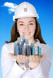 Female architect smiling Stock Photography