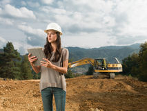 Female architect supervising construction Royalty Free Stock Photos