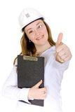 Female architect with thumbs up Stock Photography