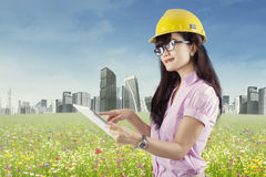 Female architect using digital tablet Royalty Free Stock Image