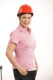 Female architect wearing hardhat Royalty Free Stock Images