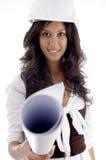 Female architect wearing helmet Stock Image