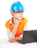 Female architect at work Stock Images