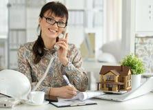 Female architect working Royalty Free Stock Photo
