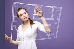 Female architect working with a virtual apartment plan Stock Photography