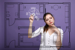 Female architect working with a virtual apartment plan Royalty Free Stock Photos