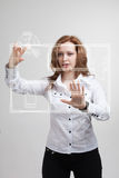 Female architect working with a virtual apartment Royalty Free Stock Photography