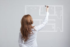 Female architect working with a virtual apartment Royalty Free Stock Image