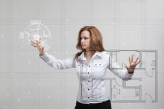 Female architect working with a virtual apartment Stock Images
