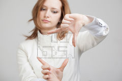 Female architect working with a virtual apartment Stock Image