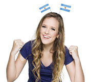 Female argentinian. Beautiful Female argentinian football fan Stock Photos