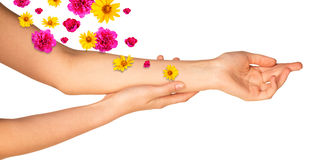 Female arms with colorful flowers Royalty Free Stock Images