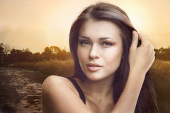 Female art portrait at sunset Stock Photography