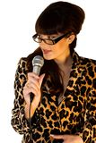Female artist. Beautiful artist in leopard jacket cutout on white background Stock Photos