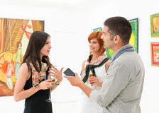 Female artist being interviewed Stock Image