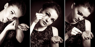 Female artist expressing crying, triptych Stock Images