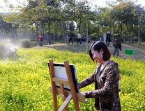 A female artist painting in rape field Stock Photo