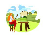 Female Artist Sitting on Chair in Front of Easel. vector illustration