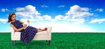 Female Artist in a Surreal Colorful Outdoor Stock Photography
