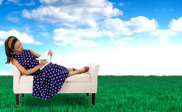 Female Artist in a Surreal Colorful Outdoor Royalty Free Stock Images