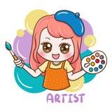 Female Artist_vector. Illustration of cartoon character female artist vector illustration