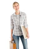 Female Artist With Wooden Case And Canvas Smiling Stock Images
