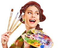 Female artist at work. Royalty Free Stock Photos