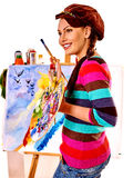 Female artist at work Royalty Free Stock Photos