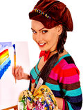 Female artist at work Stock Images