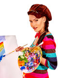 Female artist at work Stock Image