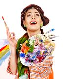 Female artist at work. Royalty Free Stock Photography